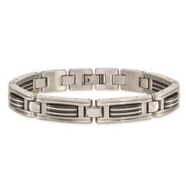 Stainless Steel Black IP-Plated Bracelet - 8.75