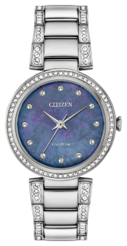 Ladies Stainless Steel Silhouette Crystal Citizen Eco-Drive Watch