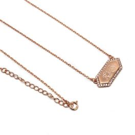 Sterling Silver Claire Bar Necklace - Rose Gold Plated