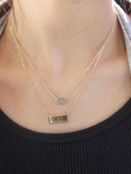Sterling Silver Layered Druzy Engravable Necklace - Gold Plated