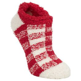 World's Softest Cozy Crew Socks - Red/White Check