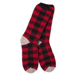 World's Softest Knit Pickin' Fireside Crew Socks - Buffalo Check