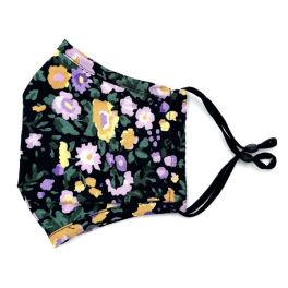 Adult Adjustable Face Mask - Black Floral