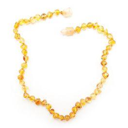 "Yellow Baltic Amber Teething Necklace - 11"""