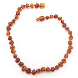 Cognac Baltic Amber Teething Necklace - 11""