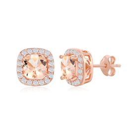 Sterling Silver Rose Gold Plated Square Morganite CZ Earrings