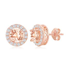 Sterling Silver Rose Gold Plated Round Morganite CZ Earrings