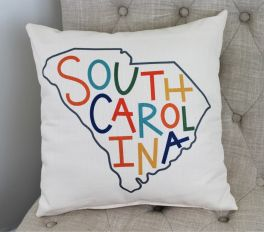 Multicolored Letterpressed State Pillow