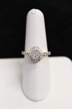 Ladies 14K Yellow Gold Oval Halo Engagement Ring - .50CT