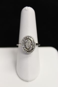 10K White Gold Diamond Oval Cluster Ring - .33CT