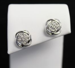 Sterling Silver Love Knot Diamond Earrings - .11CT