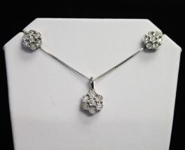 Sterling Silver Diamond Necklace & Earrings Set - .50CT