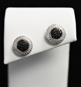 Sterling Silver Black Diamond Earrings - .11CT