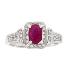 10K White Gold Ruby & Diamond Ring