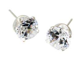 Sterling Silver Round CZ Stud Earrings - 7MM