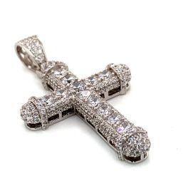 Sterling Silver CZ Cross Pendant