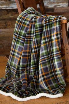 Gray Plaid Sherpa Throw Blanket