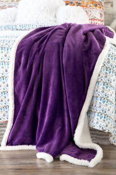 Royal Purple Sherpa Throw Blanket