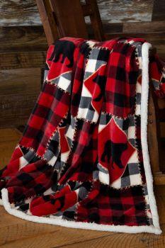 Lumberjack Bear Sherpa Throw Blanket