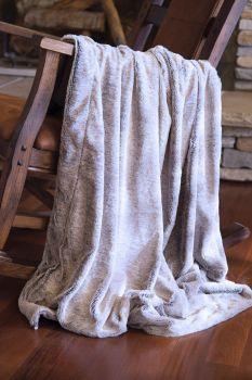 Grey Mink Faux Fur Throw Blanket