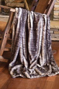 Dark Grey Fox Faux Fur Throw Blanket