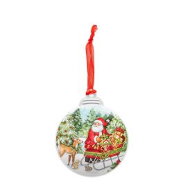 Santa With Sleigh Christmas Ornament