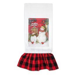 Sledding Snowman Tea Towel