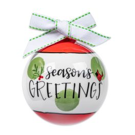Seasons Greetings Ceramic Ball Ornament