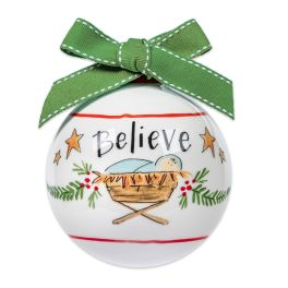 Believe Ceramic Ball Ornament