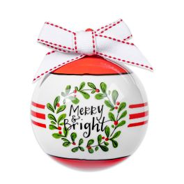 Merry & Bright Ceramic Ball Ornament