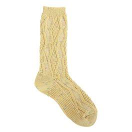 World's Softest Cable Crew Socks - Yellow Confetti