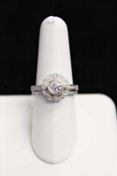 Ladies 14K White Gold Diamond Wedding Set - .63CT