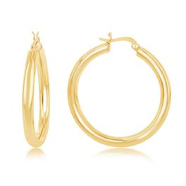 Sterling Silver Gold Plated High Polished Hoop Earrings - 4x40mm