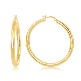 Sterling Silver Gold Plated High Polished Hoop Earrings - 4x50mm