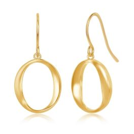 Sterling Silver Gold Plated 'O' Dangling Earrings