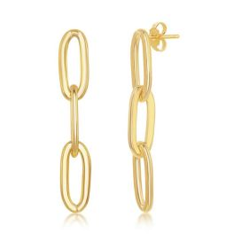 Sterling Silver Gold Plated Paper Clip Earrings
