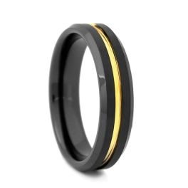 Comfort Fit Black High-Tech Ceramic Wedding Band With Gold Plated Groove - 6MM