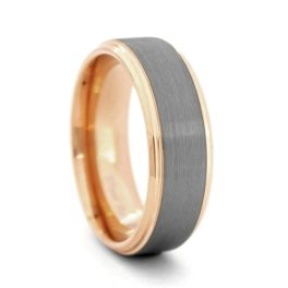 Brushed Finish Tungsten Carbide Wedding Band with Rose Gold Plated Sides - 8MM