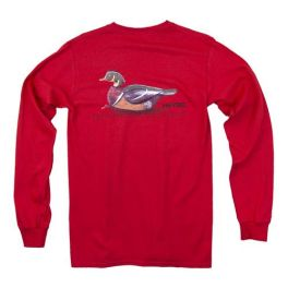 Heybo Wood Duck Decoy Long Sleeve T-Shirt - Red