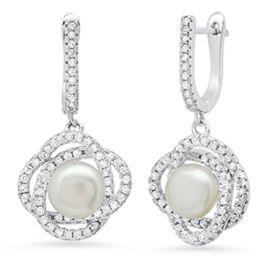 Ladies Sterling Silver Pearl CZ Earrings - 7MM