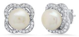 Ladies Sterling Silver Freshwater Pearl & CZ Earrings - 7MM