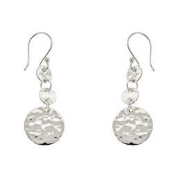 Sterling Silver Hammered Circle Drop Earrings