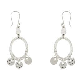 Sterling Silver Hammered Oval Dangling Earrings