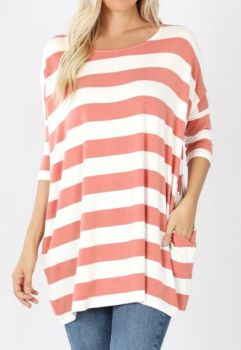 Come On Over Plus Tunic - Rose/Ivory