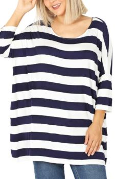 Come On Over Plus Tunic - Navy/Ivory