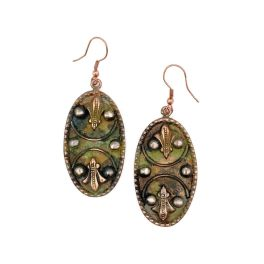 Copper Patina Earrings - Mirrored Filigree In Green Ovals