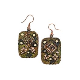 Copper Patina Earrings - Square Spiral in Green Rectangles