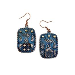 Copper Patina Earrings - Filigree Shapes In Blue Rectangle