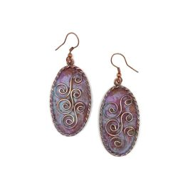 Copper Patina Earrings - Three Double Spirals In Lilac Ovals