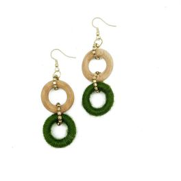 Sachi Bold Whimsy Collection Earrings - Green, Wood Beads